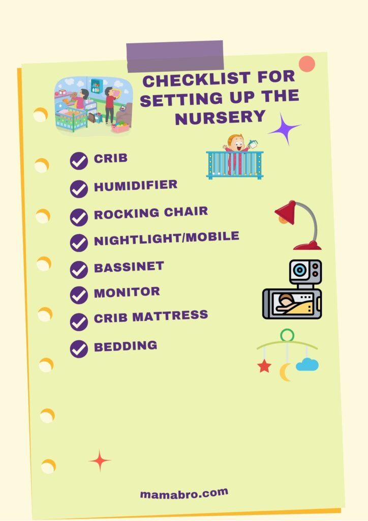 Checklist for Setting up the Nursery