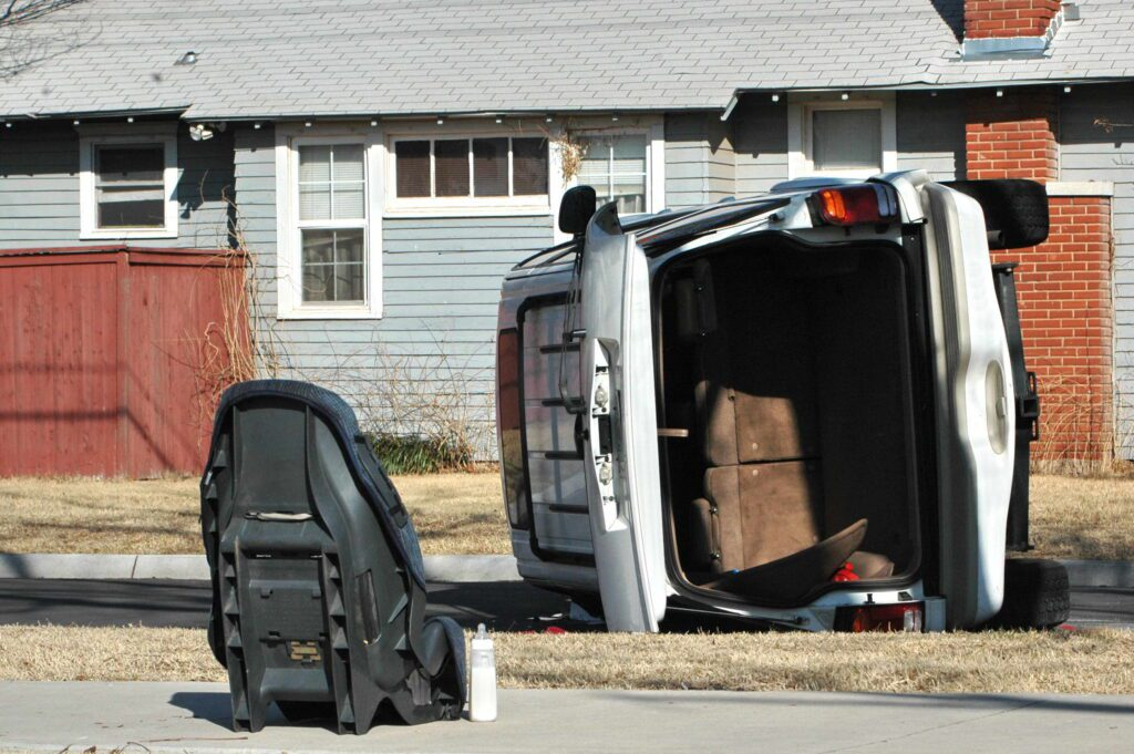 Rollover accident with car seat